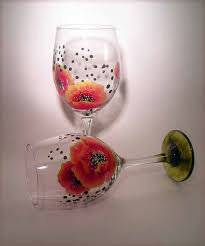 red poppies on wine glasses painted