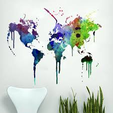 World Map Wall Decal Watercolor Vinyl Sold By Moonwallstickers Com On Storenvy