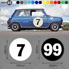 Round Number Vinyl Decal Sticker 1 X 350mm Racing Classic Car 6103 0119 Ebay