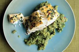 Halibut on Mashed Fava Beans with Mint ...