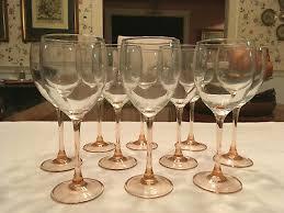 set of 16 pink stem white wine glasses