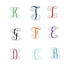 Monogram Name Decal Single Letter Decal Script Font Letters Monogram Decal Laptop Sticker Macbook Decal Wall Decal By Bags Of Favours Catch My Party