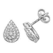 cer pear shaped stud earrings