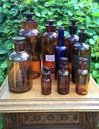 lot antique old apothecary glass bottle