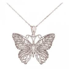 solid 14k white gold erfly necklace