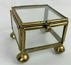vintage brass glass trinket box