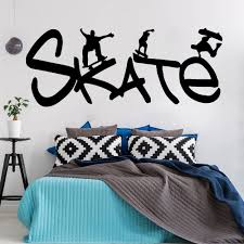 Skate Wall Sticker Teen Room Decor Interesting Sports Vinyl Removable Wall Decals Modern School Dormitory Home Decoration Z146 Wall Stickers Aliexpress