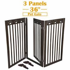 36 3 Panels Pet Gate Folding Wooden Retractable Dog Fence Baby Safety Expanding Ebay