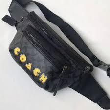 coach pac man yellow belt bag tas pria