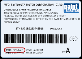 lexus touch up paint color code and