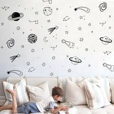 Black Planet Wall Decal Boys Room Decor Outer Space Wall Decals Star For Sale Online Ebay
