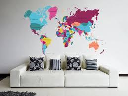 Amazon Com Stickersforlife Cik82 Full Color Wall Decal World Map Living Room Bedroom Children S Room Home Kitchen