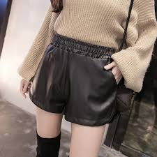 women casual black pu leather shorts
