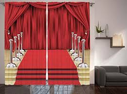 Red Curtains Home Decor By Ambesonne Digital Print Concert Theatre Stage Drapes Bedroom Living Kids Room