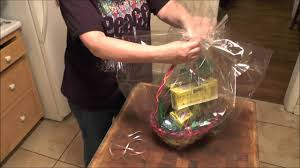 how to wrap a gift basket with cello