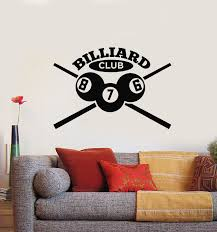 Vinyl Wall Decal Billiards Room Club Cue Balls Poolroom Decor Stickers Wallstickers4you