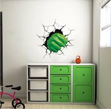 Green Fist Smash Wall Decal Superhero Wall Design Kids Smash Wall Cling Boys Room Decor Stickers Superhero Room Superhero Wall Stickers Kids Wall Decals