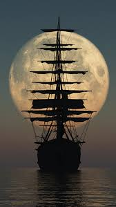 pirate ship moon iphone 5 wallpaper