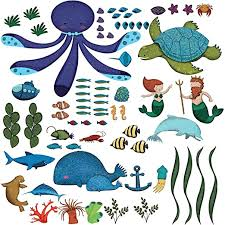 Amazon Com My Wonderful Walls Ocean Wall Stickers For Under The Sea Theme Wall Mural For Kids Room Multicolored Home Kitchen