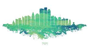 Houston City Skyline Mint Green Watercolor On White Background Digital Art By Stockphotosart Com