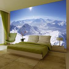 snow mountain scene giant wall mural