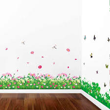 Colorful Plant Flower Fences Baseboard Wall Stickers For Home Decor Kitchen Living Room Bedroom Mural Pvc Diy Wall Art Decals Wall Stickers Aliexpress
