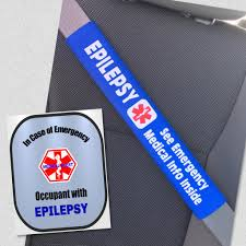 Epilepsy Medical Alert Seat Belt Cover Window Decal Set Safety Awareness Products