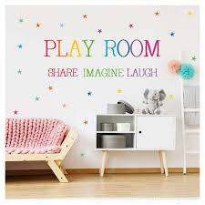 Amazon Com Vpogn Playroom Share Imagine Laugh Wall Decal Colorful Inspirational Lettering Quote With Stars Wall Sticker For Kids Classroom Playroom Decoration Baby
