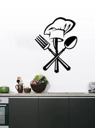 Buy 1pc Creative Kitchen Wall Sticker Chef Hat And Flatware Pattern Home Wall Decal Wall Stickers At Jolly Chic
