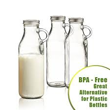 set of 3 clear glass milk bottles