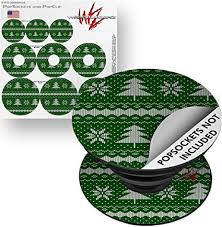 Amazon Com Decal Style Vinyl Skin Wrap 3 Pack For Popsockets Ugly Holiday Christmas Sweater Christmas Trees Green 01 Popsocket Not Included By Wraptorskinz Everything Else
