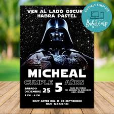 Invitacion De Cumpleanos De Fiesta Imprimible De Star War Darth Vader