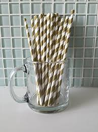 pack gold striped paper straws