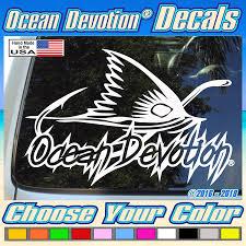 Surf Boat Redfish Fin With Hook Ocean Devotion Vinyl Decal Sticker 5h X 7w Inches Keywords Beach Life Salt Life Car Window Surfing Sea Life Automobile Truck Reel Life Fishing