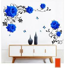 Blue Rose Wall Stickers Large Flowers Sofa Tv Background Home Decoration Diy Art 618487133762 Ebay
