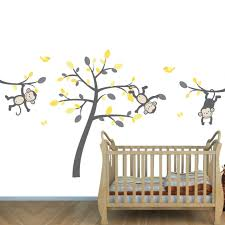 Yellow Gray Safari Murals With Monkey Wall Decals For Baby Room