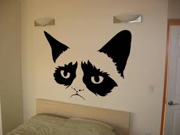 Grumpy Cat Silhouette Vinyl Wall Decal Sticker Many Colors And Sizes Available Funny Grumpy Cat Vinyl For Wall Decor