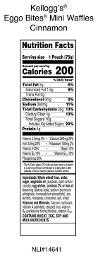eggo waffles nutrition facts label