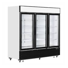 glass door freezer fridge with plug