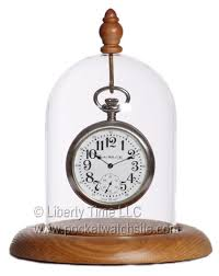 pocket watch display dome with oak wood