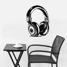 Wall Decal Vinyl Decal Sticker Headphones Music Notes Beats Audio Draw Stickersforlife