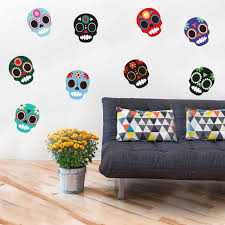 Sugar Skull Wall Decal Kit Halloween And Day Of The Dead Decals By Chromantics