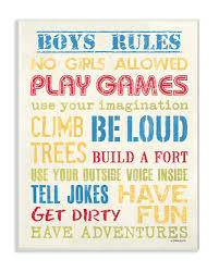 The Kids Room By Stupell Blue Yellow Red And Green Boys Rules Oversized Wall Plaque Art 12 5 X 0 5 X 18 5 Walmart Com Walmart Com