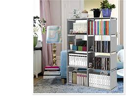 Beeiee 4 Tire Book Shelf Office Cabinet Closet With 8 Cube Book Case Kid Diy Storage Organizer Shelf Silver Grey Four Layers Two Columns