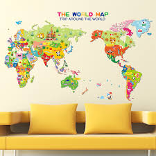 World Map Childrens Wall Stickers Baby Nursery Room Decor