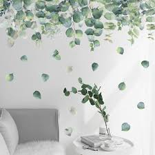 Self Adhesive Green Leaves Wall Stickers For Living Room Bedroom Removable Vinyl Wall Decals Art Diy Home Decor Wall Poster Wall Stickers Aliexpress