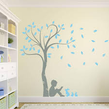 Amazon Com Design Divils Supreme Large Leaved Tree And Little Boy Reading With Rabbits Vinyl Matte Wall Decal Sticker Dd003 Mid Grey Light Blue Home Kitchen