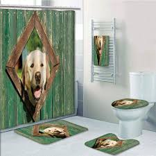 Erehome Funny Curious Dog Is Looking From Window In Old Rustic Wooden Fence Cheerful 5 Piece Bathroom Set Shower Curtain Bath Towel Bath Rug Contour Mat And Toilet Lid Cover Walmart Canada