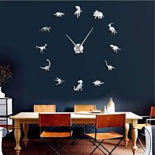 Amazon Com Mubgo Wall Clocks White Dinosaurs Wall Art T Rex Diy Large Wall Clock Kids Room Decoration Giant Frameless Wall Clock Dino Modern Clock Watch 47inch Home Kitchen