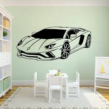 Large Lamborghini Racing Car Vehicle Wall Sticker Boy Room Bedroom Sport Car Auto Wall Decal Bedroom Playroom Vinyl Home Decor Wall Stickers Aliexpress